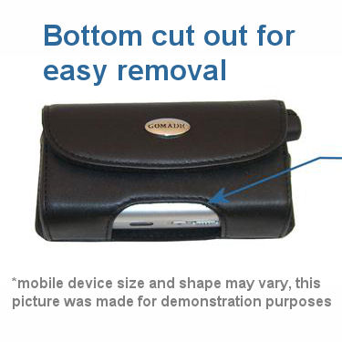 Gomadic Brand Horizontal Black Leather Carrying Case for the Motorola V545 with Integrated Belt Loop and Optional Belt Clip