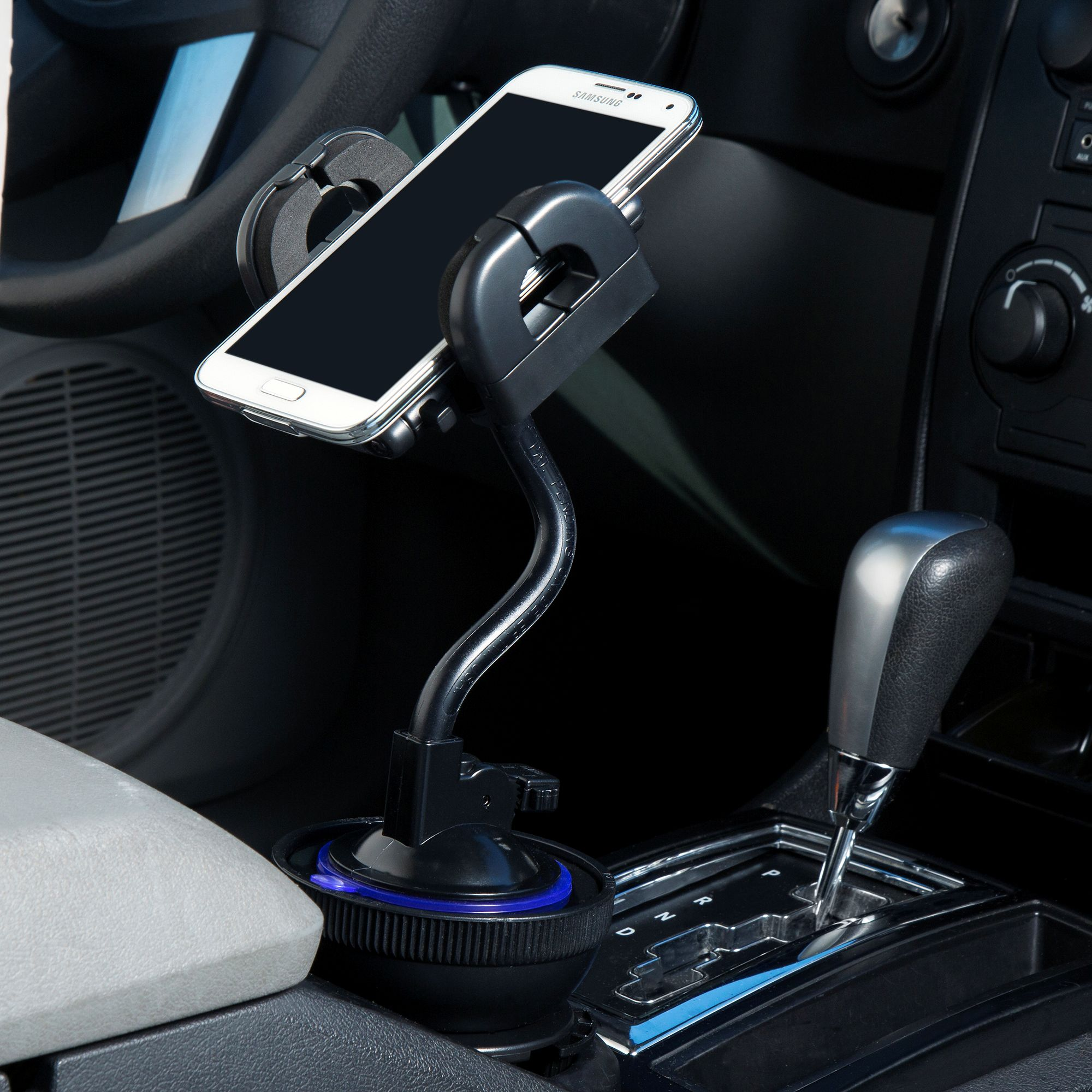 Unique Auto Cupholder and Suction Windshield Dual Purpose Mounting System for Magellan Roadmate 1210 - Flexible Holder System Includes Two Mount Options