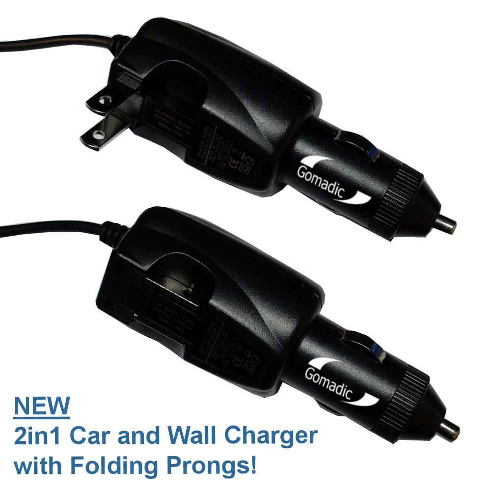 Intelligent Dual Purpose DC Vehicle and AC Home Wall Charger suitable for the Pure Digital Flip Video MinoHD - Two critical functions; one unique charger - Uses Gomadic Brand TipExchange Technology