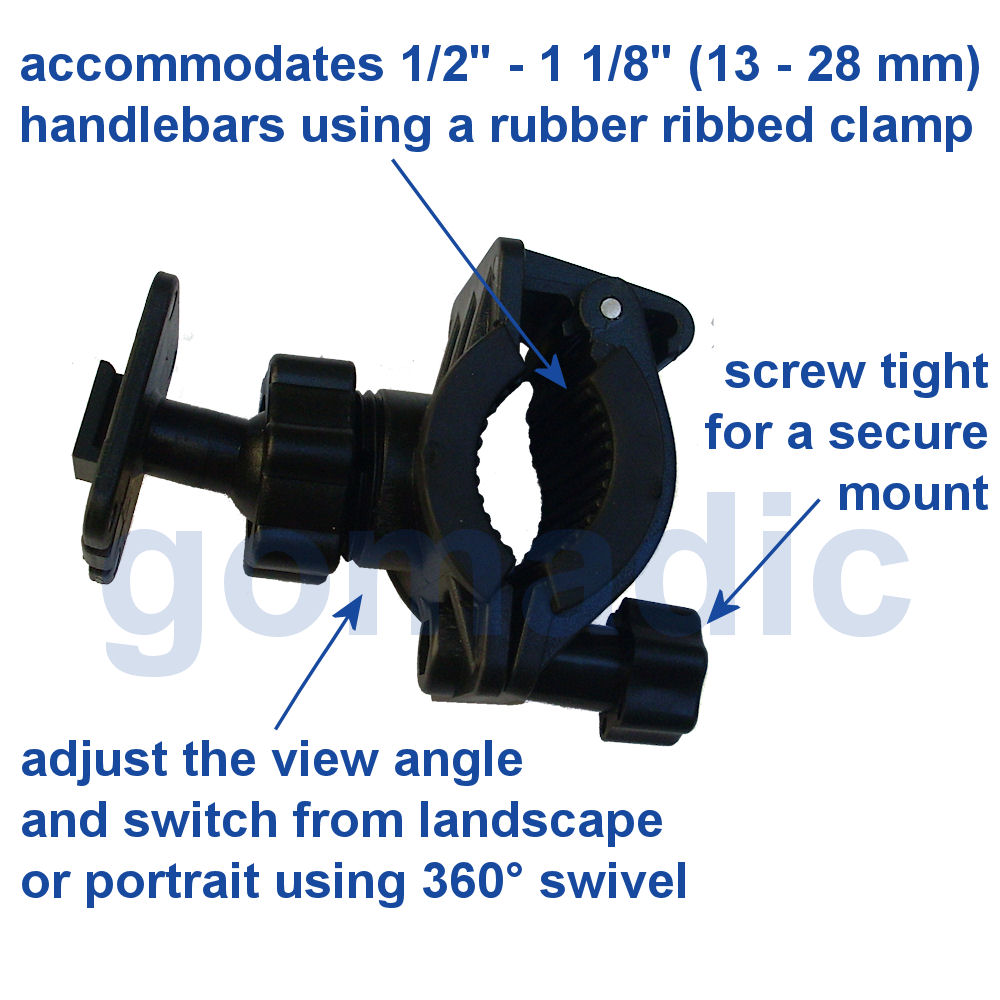 Gomadic Bike Handlebar Holder Mount System suitable for the Navman iCN 650 - Unique Holder; Lifetime Warranty