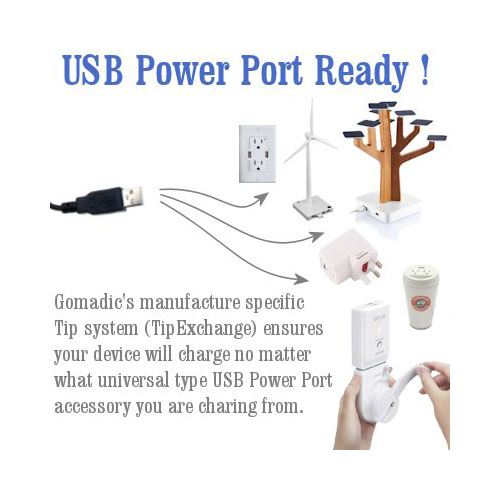 USB Power Port Ready retractable USB charge USB cable wired specifically for the Motorola V545 and uses TipExchange
