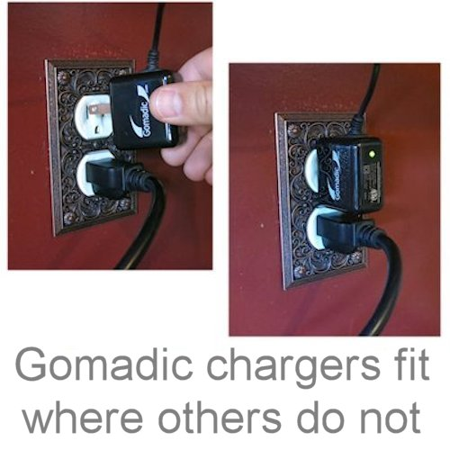 Gomadic Intelligent Compact AC Home Wall Charger suitable for the Panasonic HDC-TM40 HDC-TM41 - High output power with a convenient; foldable plug design - Uses TipExchange Technology