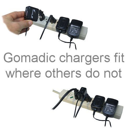 Gomadic Intelligent Compact AC Home Wall Charger suitable for the Creative Zen V Plus - High output power with a convenient; foldable plug design - Uses TipExchange Technology