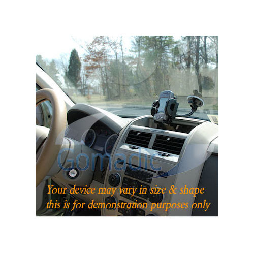 Gomadic Brand Flexible Car Auto Windshield Holder Mount designed for the Creative Zen Micro - Gooseneck Suction Cup Style Cradle