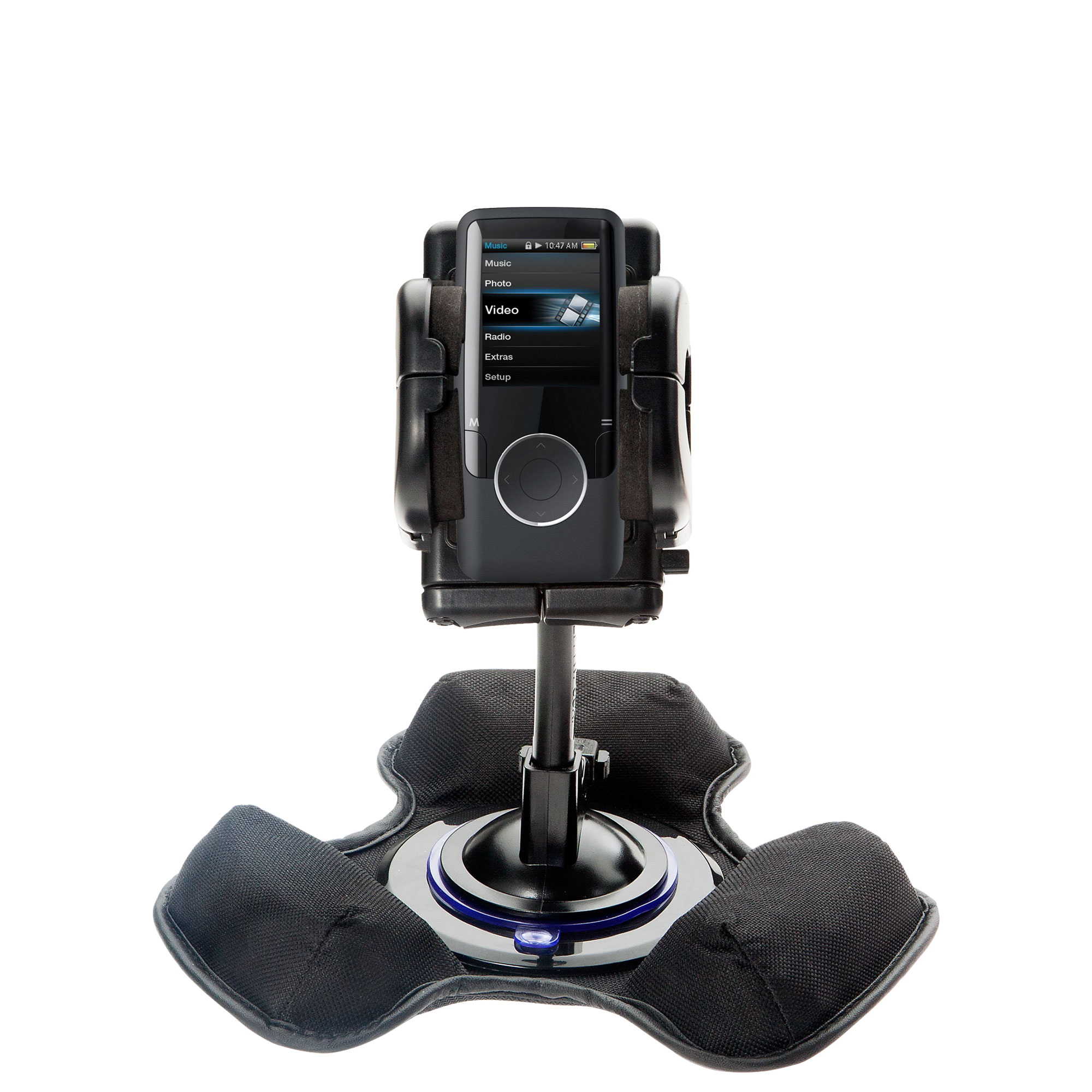 Car / Truck Vehicle Holder Mounting System for Coby MP620 Video MP3 Player Includes Unique Flexible Windshield Suction and Universal Dashboard Mount Options
