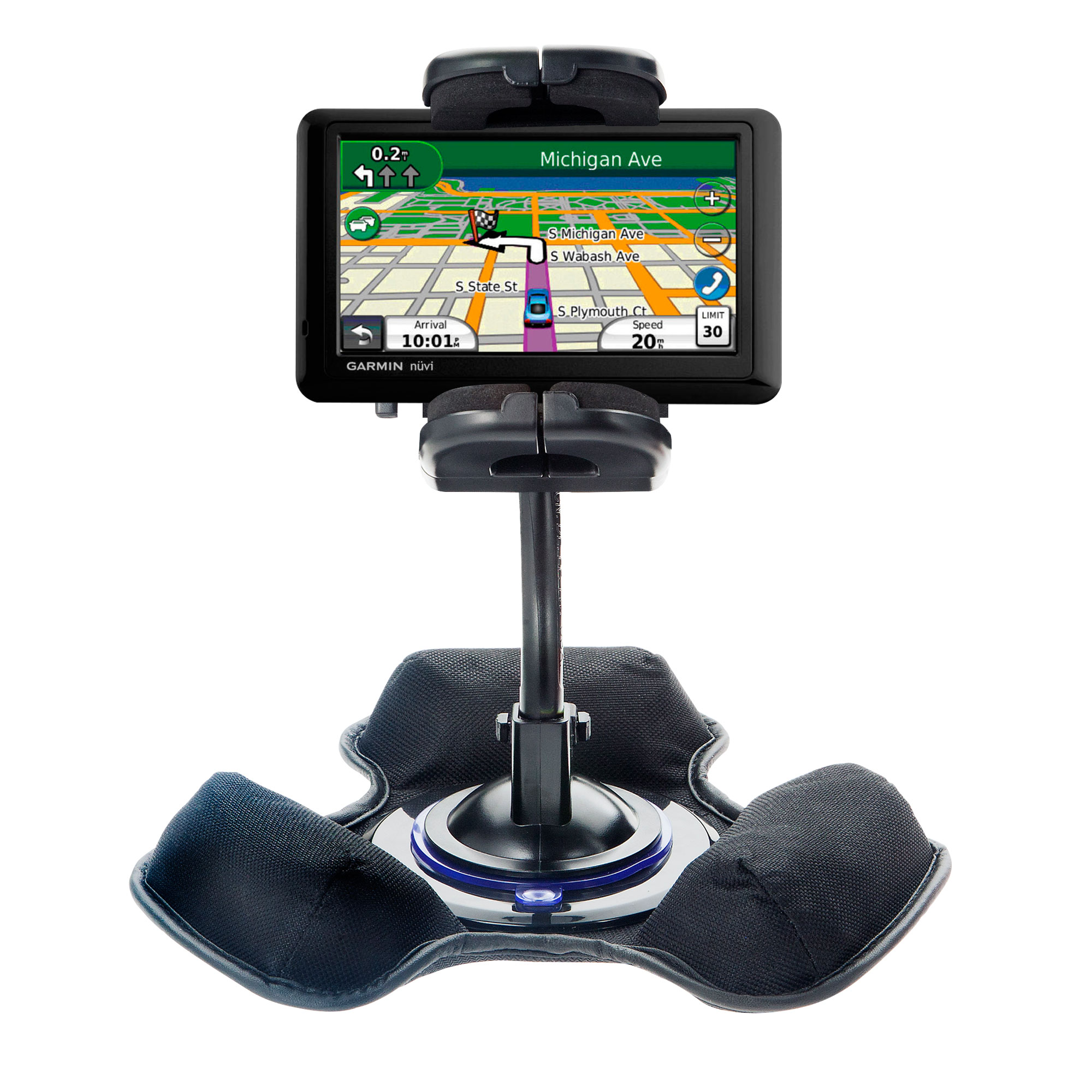Car / Truck Vehicle Holder Mounting System for Garmin Nuvi 2350 Includes Unique Flexible Windshield Suction and Universal Dashboard Mount Options