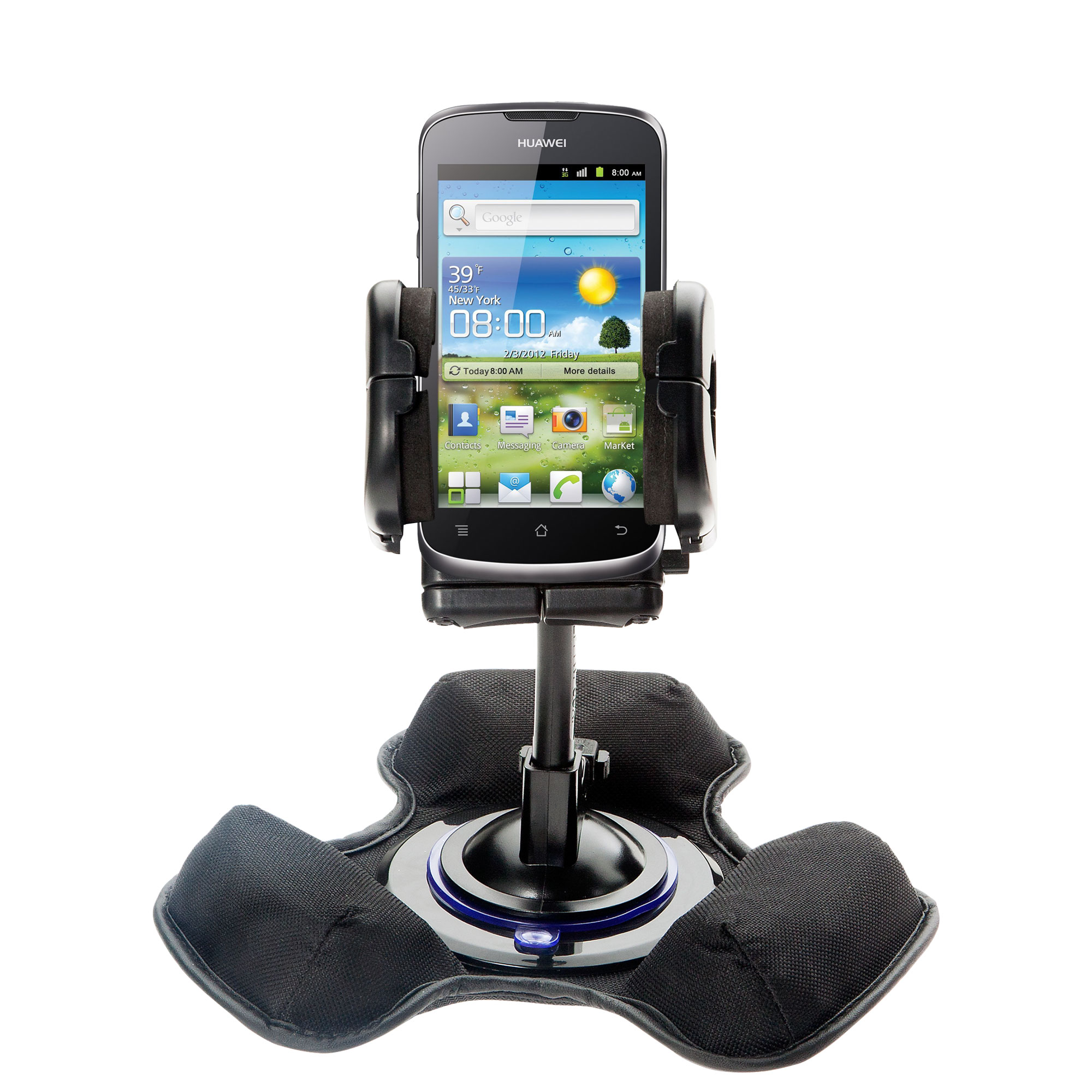 Car / Truck Vehicle Holder Mounting System for Huawei U8815 Includes Unique Flexible Windshield Suction and Universal Dashboard Mount Options