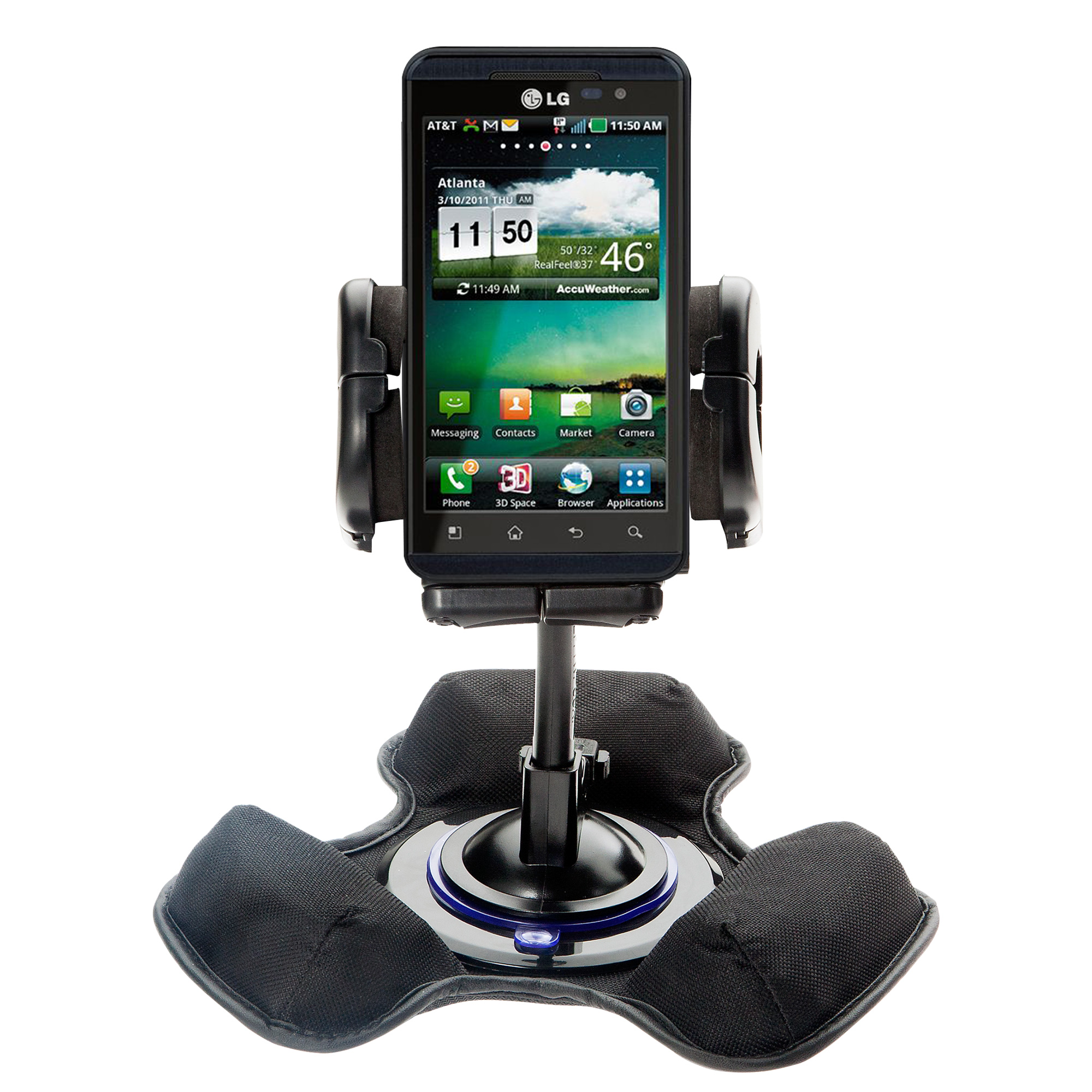 Car / Truck Vehicle Holder Mounting System for LG Thrill 4G Includes Unique Flexible Windshield Suction and Universal Dashboard Mount Options