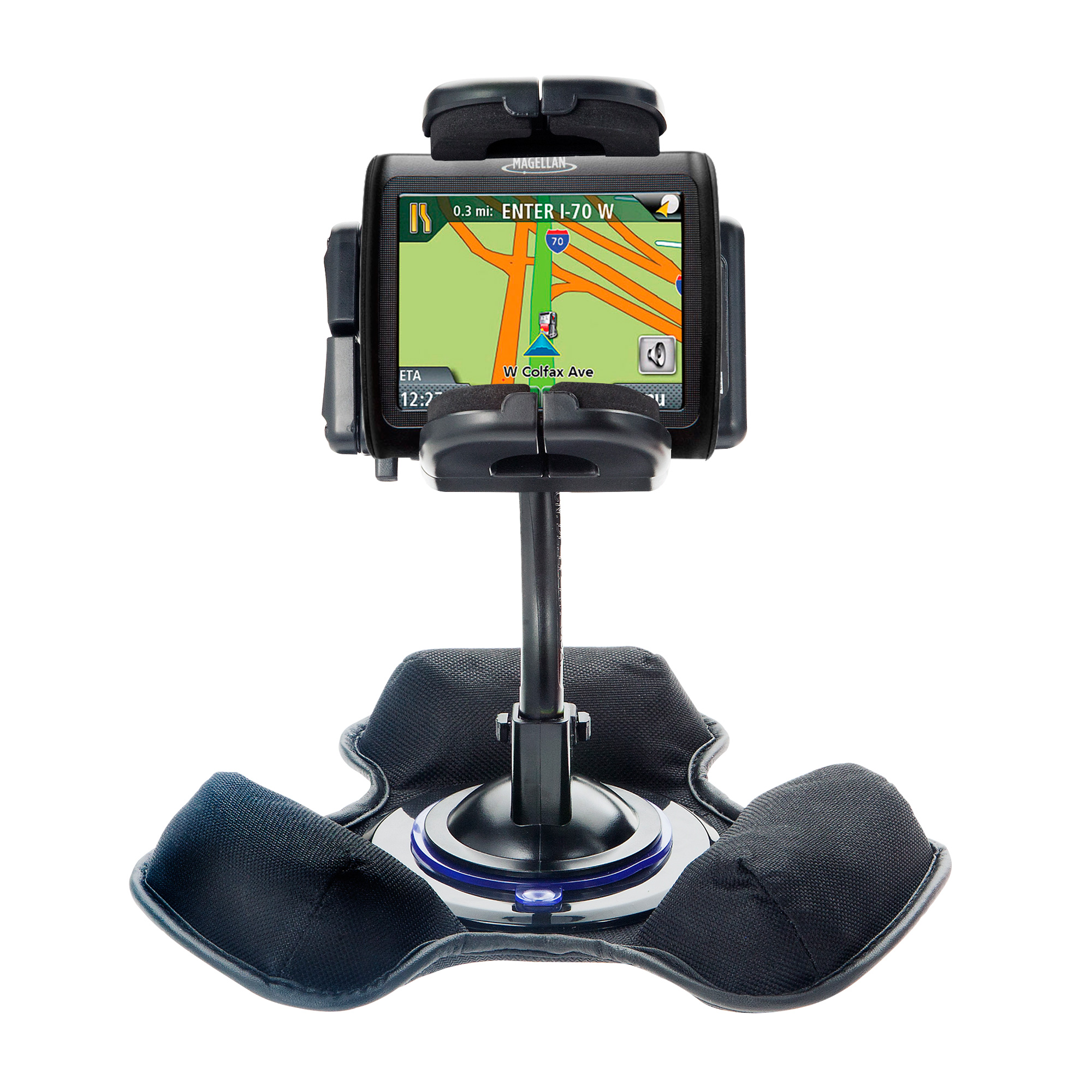 Car / Truck Vehicle Holder Mounting System for Magellan Roadmate 1210 Includes Unique Flexible Windshield Suction and Universal Dashboard Mount Options