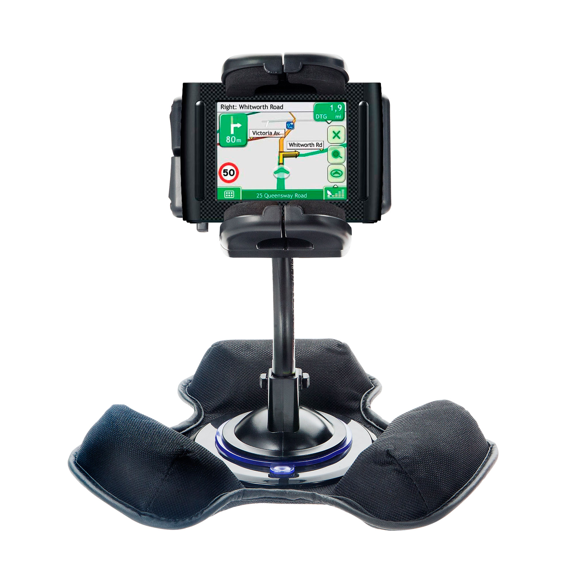 Car / Truck Vehicle Holder Mounting System for Navman F35 Includes Unique Flexible Windshield Suction and Universal Dashboard Mount Options