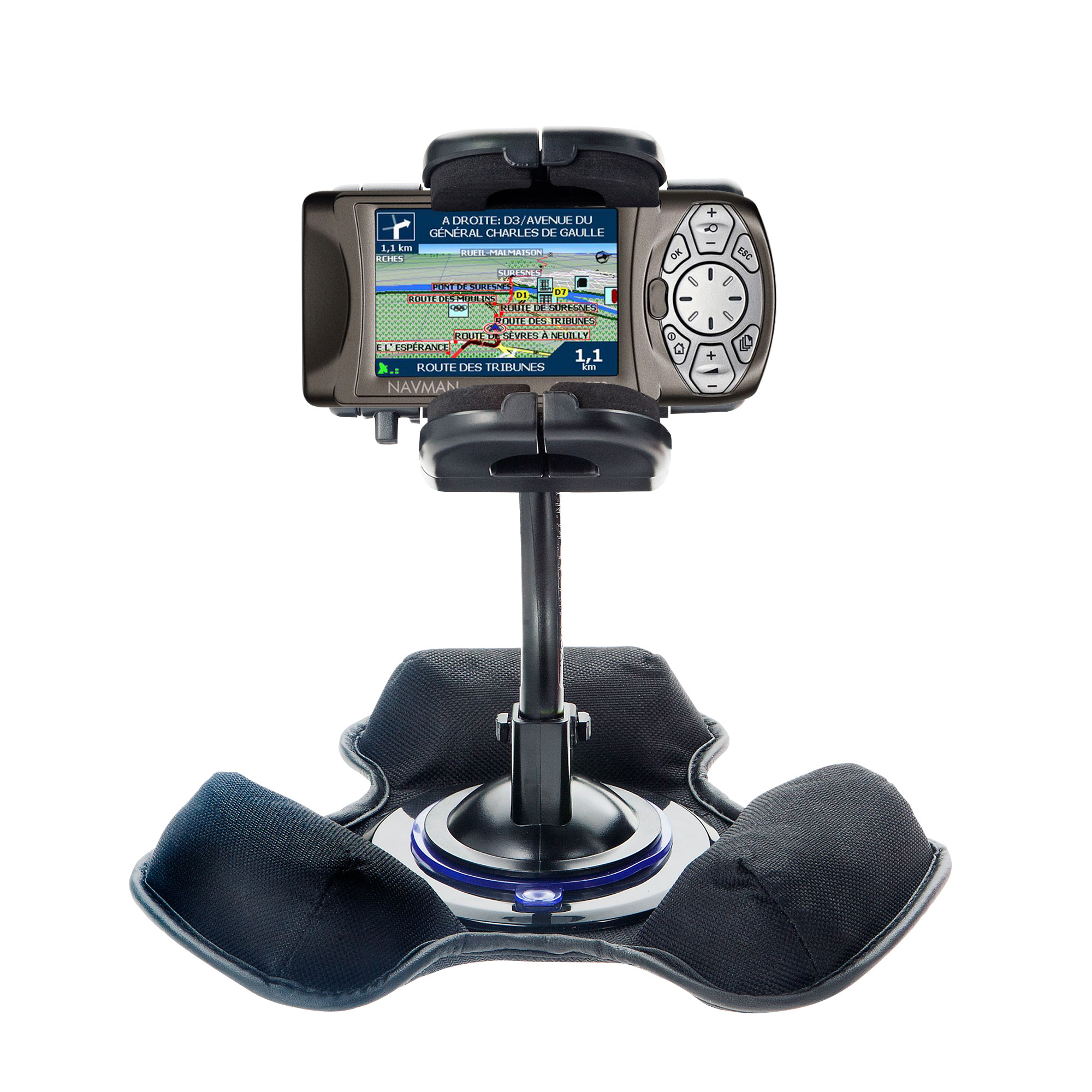 Car / Truck Vehicle Holder Mounting System for Navman iCN 650 Includes Unique Flexible Windshield Suction and Universal Dashboard Mount Options
