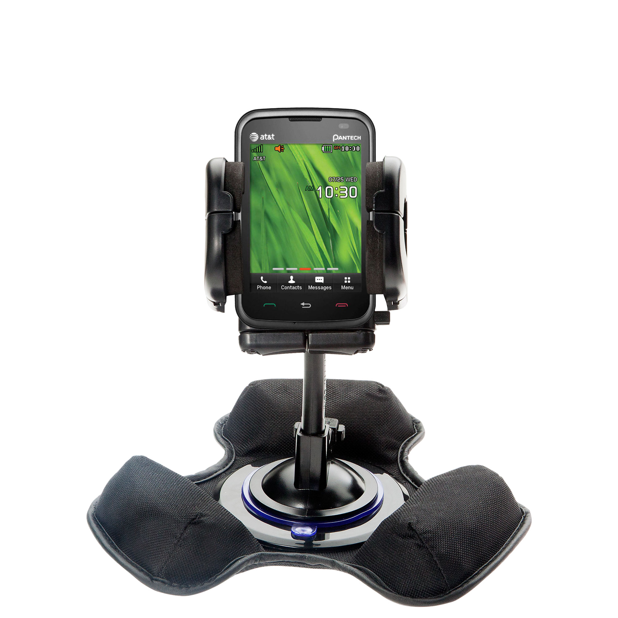 Car / Truck Vehicle Holder Mounting System for Pantech Renue Includes Unique Flexible Windshield Suction and Universal Dashboard Mount Options