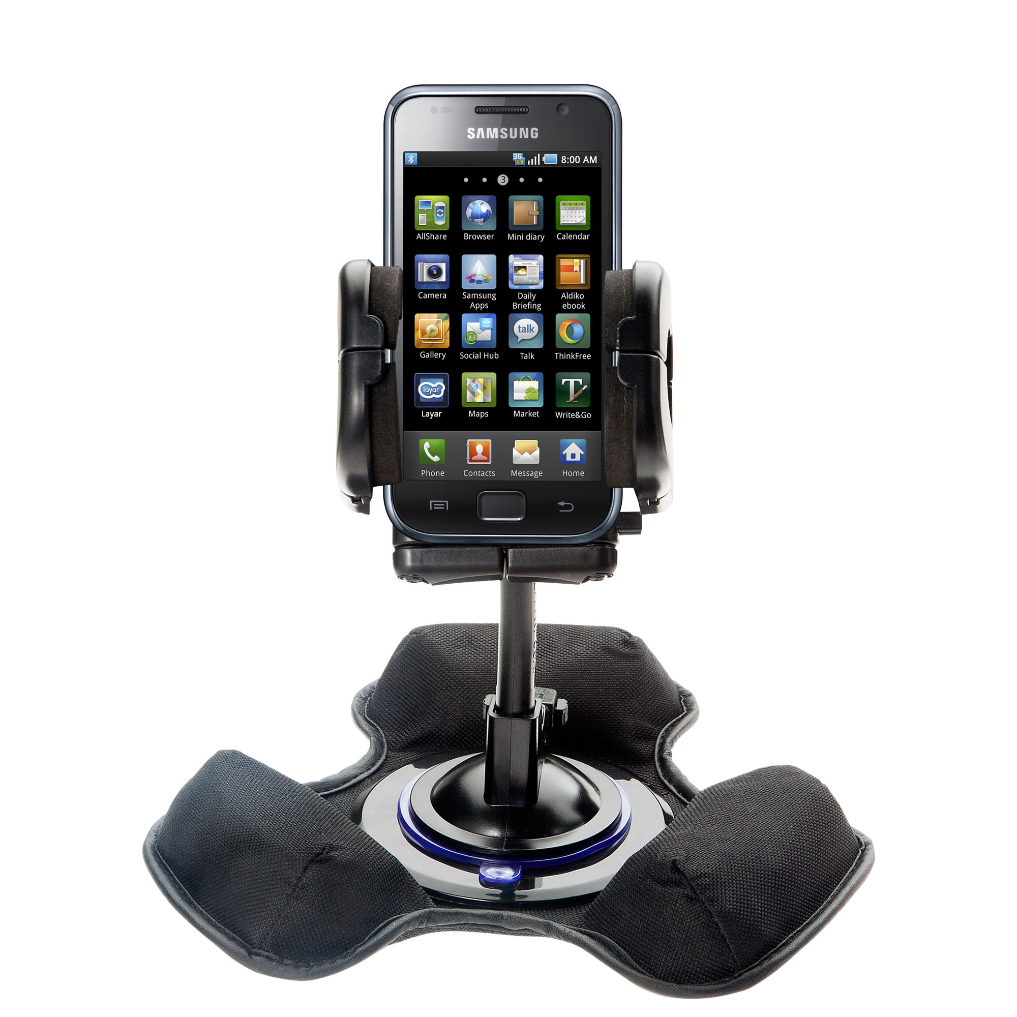 Car / Truck Vehicle Holder Mounting System for Samsung Galaxy S Includes Unique Flexible Windshield Suction and Universal Dashboard Mount Options