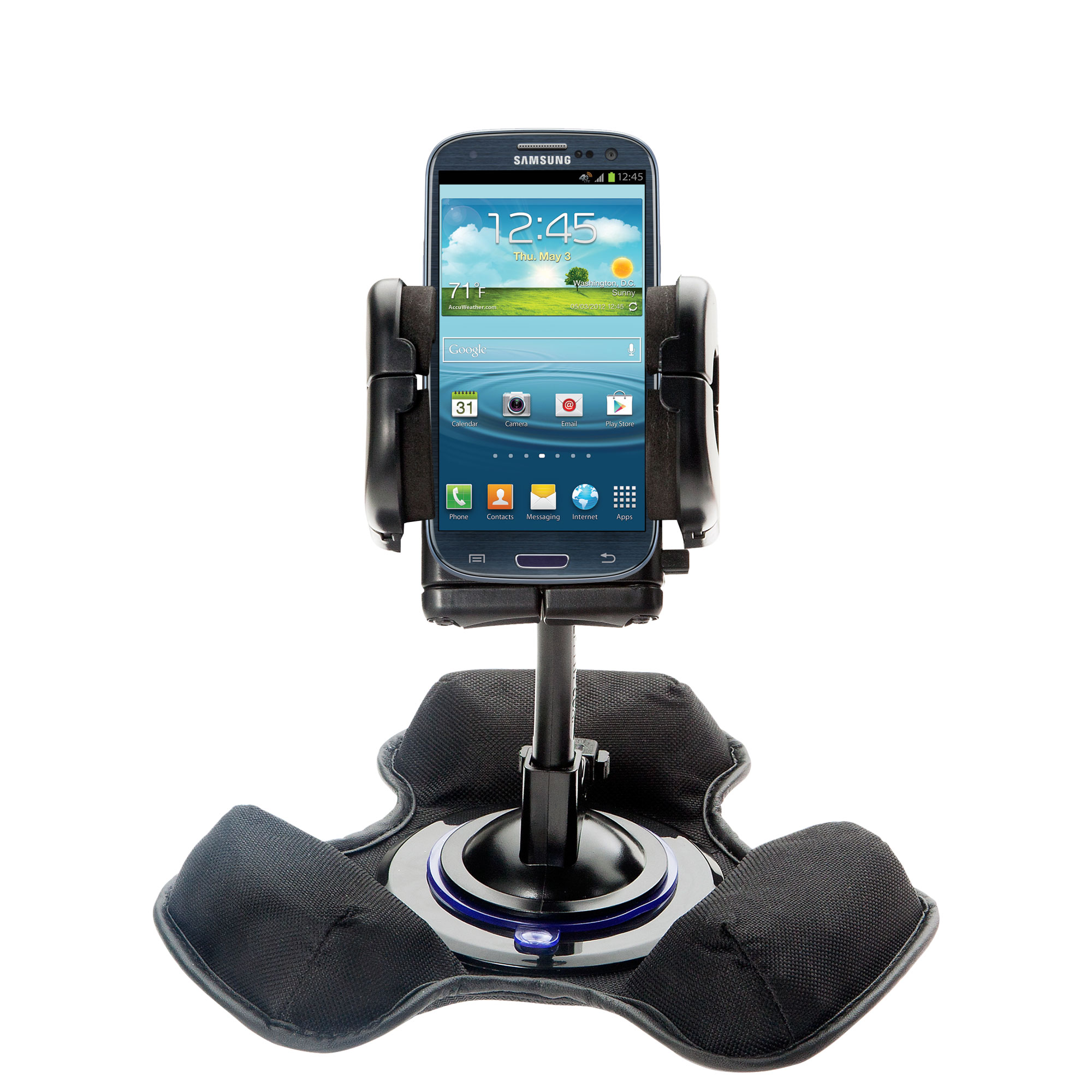 Car / Truck Vehicle Holder Mounting System for Samsung Galaxy S III Includes Unique Flexible Windshield Suction and Universal Dashboard Mount Options