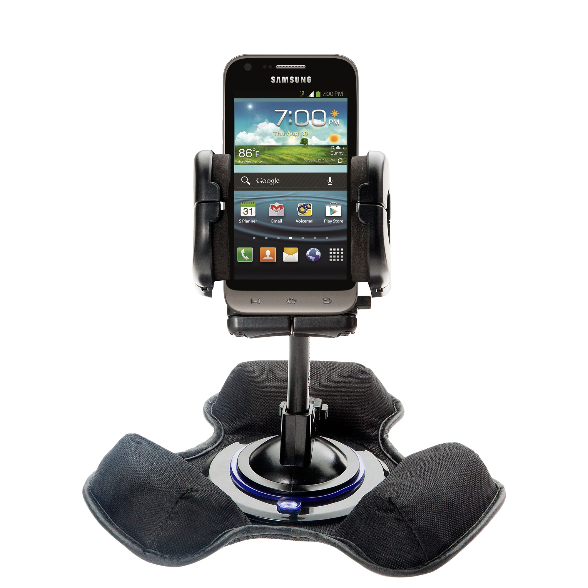 Car / Truck Vehicle Holder Mounting System for Samsung Galaxy Victory Includes Unique Flexible Windshield Suction and Universal Dashboard Mount Options
