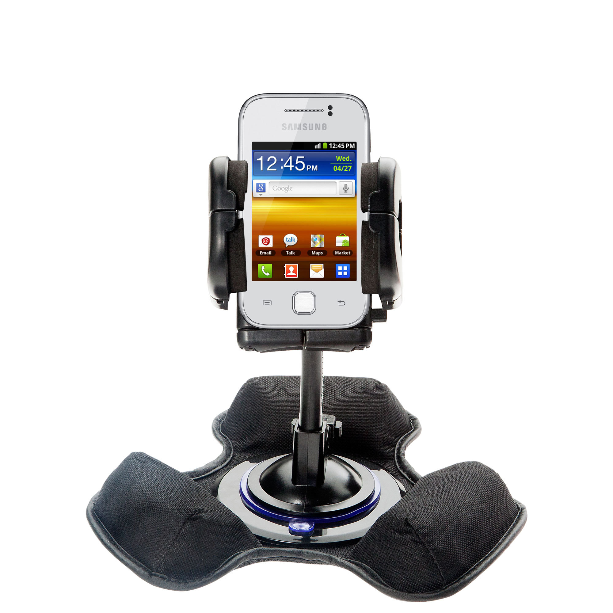 Car / Truck Vehicle Holder Mounting System for Samsung Galaxy Y Includes Unique Flexible Windshield Suction and Universal Dashboard Mount Options