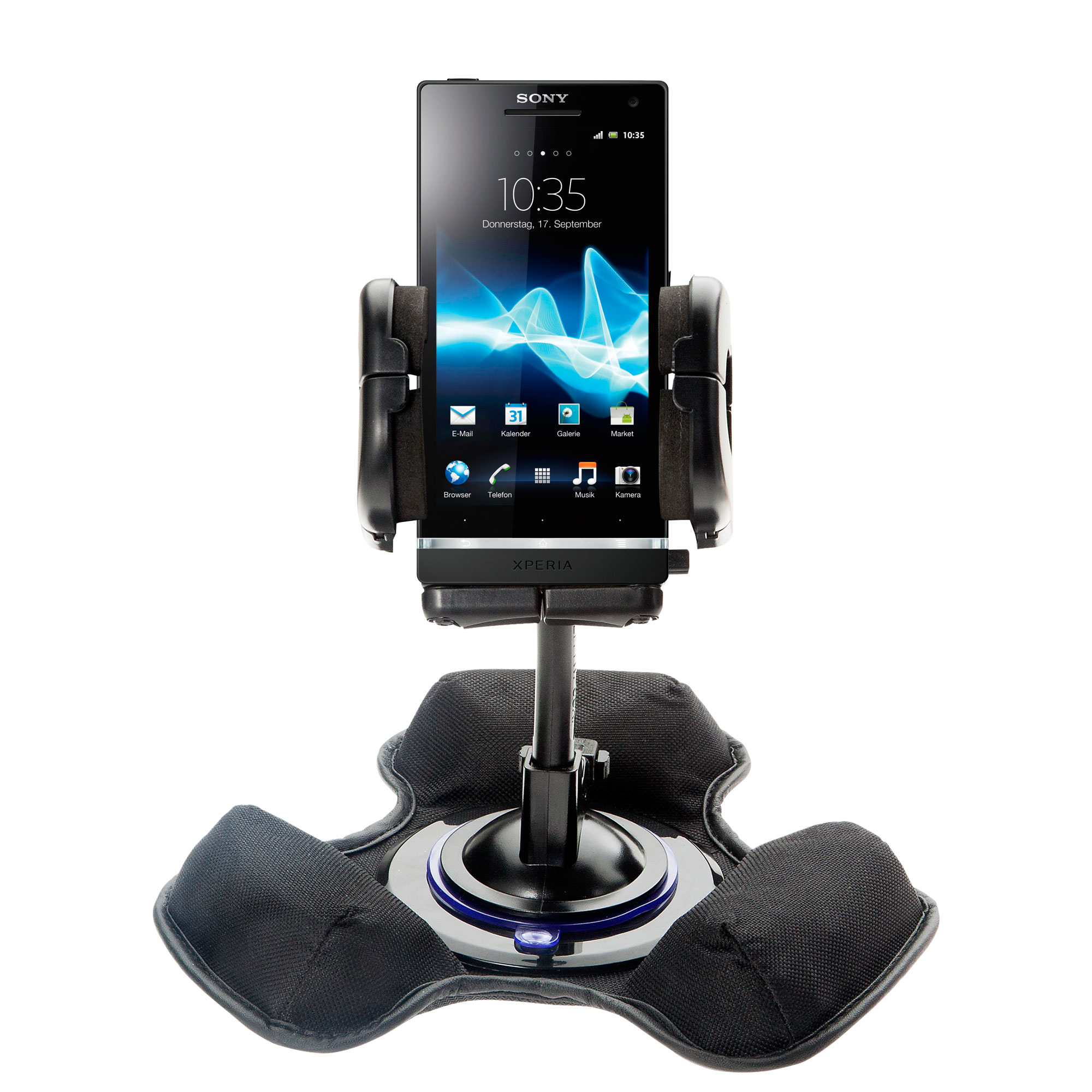 Car / Truck Vehicle Holder Mounting System for Sony Ericsson Xperia S Includes Unique Flexible Windshield Suction and Universal Dashboard Mount Options