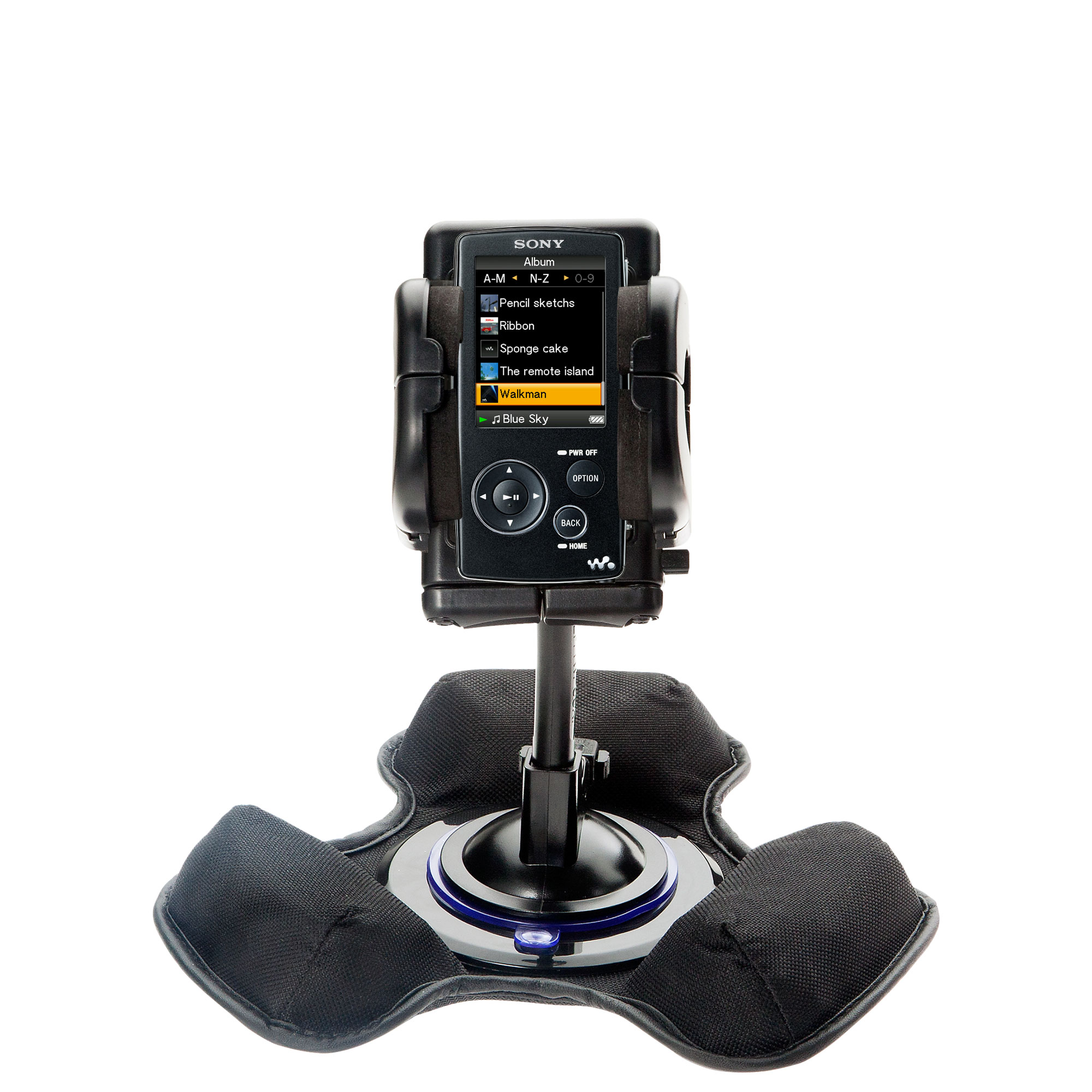 Car / Truck Vehicle Holder Mounting System for Sony Walkman NWZ-A805 Includes Unique Flexible Windshield Suction and Universal Dashboard Mount Options