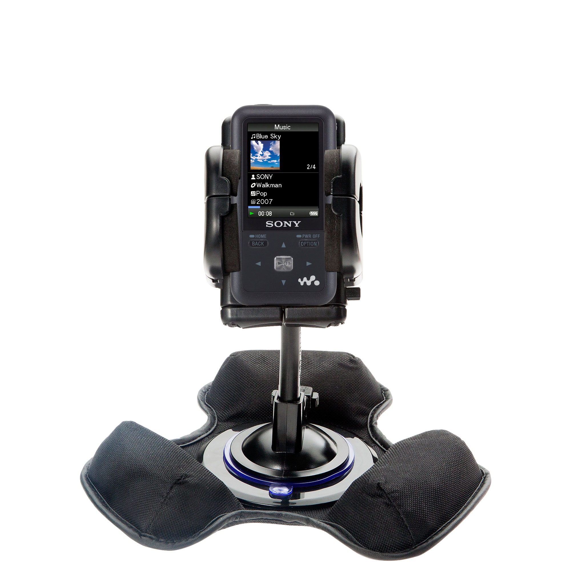 Car / Truck Vehicle Holder Mounting System for Sony Walkman NWZ-S616 Includes Unique Flexible Windshield Suction and Universal Dashboard Mount Options