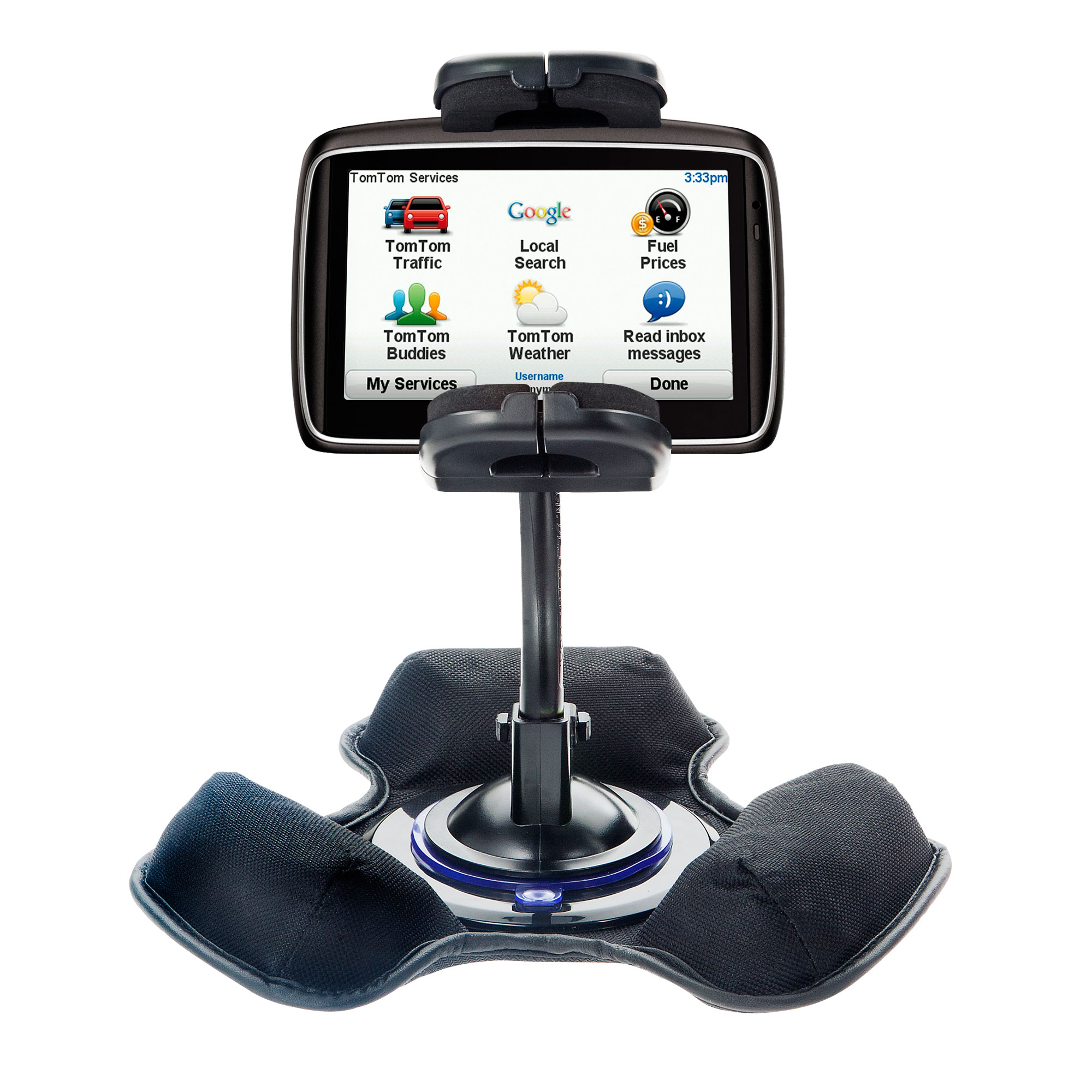 Car / Truck Vehicle Holder Mounting System for TomTom 740 Includes Unique Flexible Windshield Suction and Universal Dashboard Mount Options