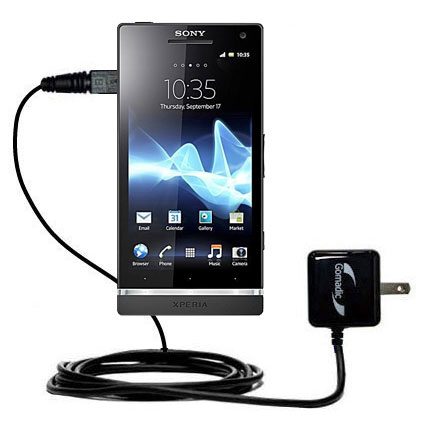 Gomadic Intelligent Compact AC Home Wall Charger suitable for the Sony Ericsson Xperia S - High output power with a convenient; foldable plug design - Uses TipExchange Technology