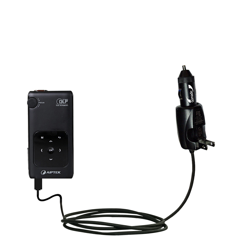Intelligent Dual Purpose DC Vehicle and AC Home Wall Charger suitable for the Aiptek PocketCinema v50 - Two critical functions; one unique charger - Uses Gomadic Brand TipExchange Technology