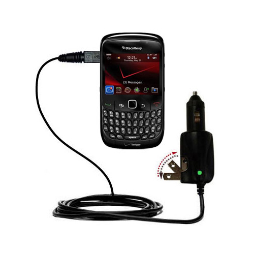 Intelligent Dual Purpose DC Vehicle and AC Home Wall Charger suitable for the Blackberry Bold 9650 - Two critical functions; one unique charger - Uses Gomadic Brand TipExchange Technology
