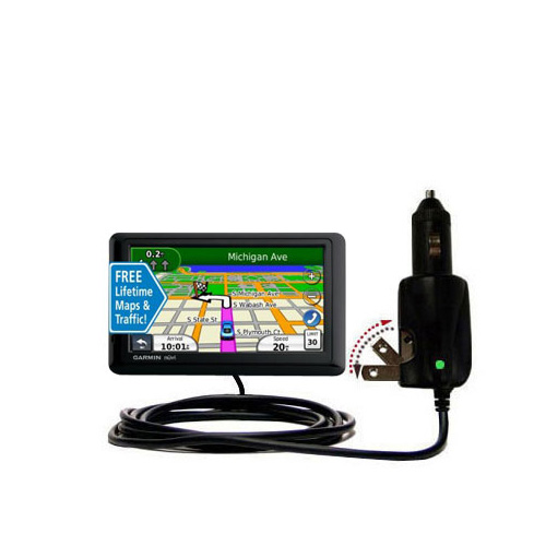 Intelligent Dual Purpose DC Vehicle and AC Home Wall Charger suitable for the Garmin nuvi 1490LMT 1490T - Two critical functions; one unique charger - Uses Gomadic Brand TipExchange Technology