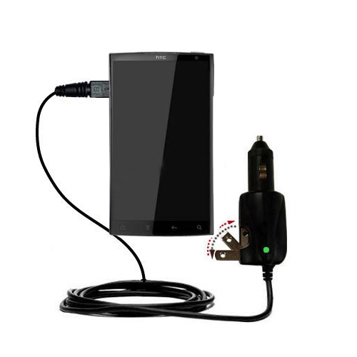 Intelligent Dual Purpose DC Vehicle and AC Home Wall Charger suitable for the HTC Zeta - Two critical functions; one unique charger - Uses Gomadic Brand TipExchange Technology