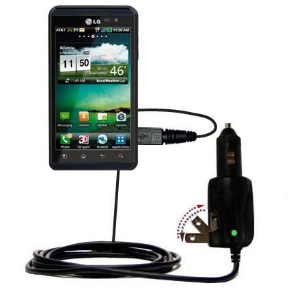 Intelligent Dual Purpose DC Vehicle and AC Home Wall Charger suitable for the LG Thrill 4G - Two critical functions; one unique charger - Uses Gomadic Brand TipExchange Technology