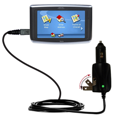 Intelligent Dual Purpose DC Vehicle and AC Home Wall Charger suitable for the Magellan Maestro 3200 - Two critical functions; one unique charger - Uses Gomadic Brand TipExchange Technology