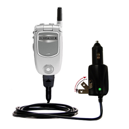 Intelligent Dual Purpose DC Vehicle and AC Home Wall Charger suitable for the Motorola i730 - Two critical functions; one unique charger - Uses Gomadic Brand TipExchange Technology