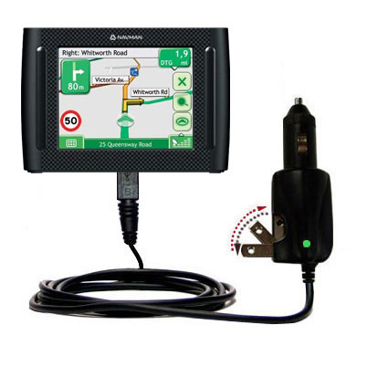 Intelligent Dual Purpose DC Vehicle and AC Home Wall Charger suitable for the Navman F35 - Two critical functions; one unique charger - Uses Gomadic Brand TipExchange Technology