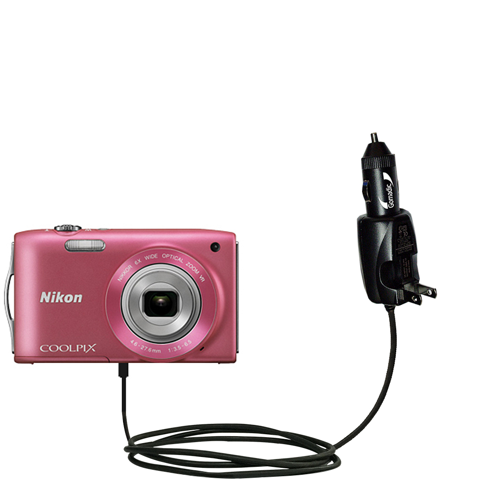 Intelligent Dual Purpose DC Vehicle and AC Home Wall Charger suitable for the Nikon Coolpix S3200 / S3300 - Two critical functions; one unique charger - Uses Gomadic Brand TipExchange Technology
