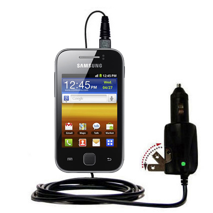 Intelligent Dual Purpose DC Vehicle and AC Home Wall Charger suitable for the Samsung Galaxy Y - Two critical functions; one unique charger - Uses Gomadic Brand TipExchange Technology
