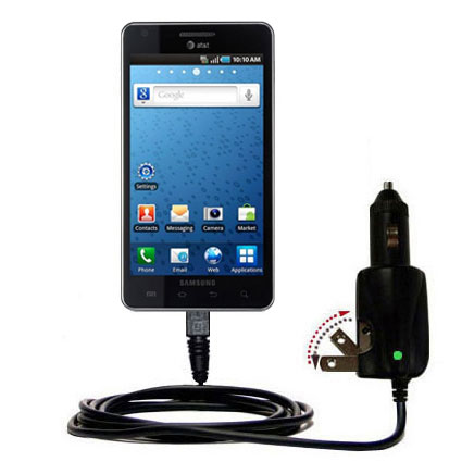 Intelligent Dual Purpose DC Vehicle and AC Home Wall Charger suitable for the Samsung Infuse 4G - Two critical functions; one unique charger - Uses Gomadic Brand TipExchange Technology