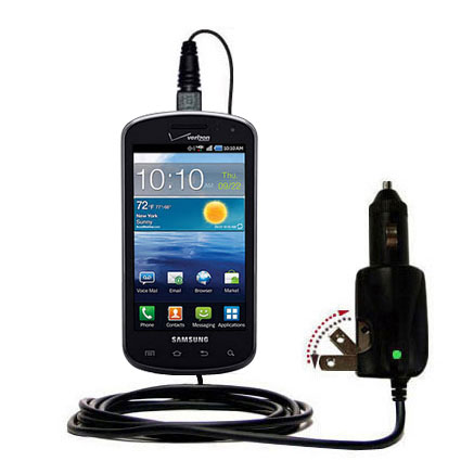 Intelligent Dual Purpose DC Vehicle and AC Home Wall Charger suitable for the Samsung Stratosphere - Two critical functions; one unique charger - Uses Gomadic Brand TipExchange Technology
