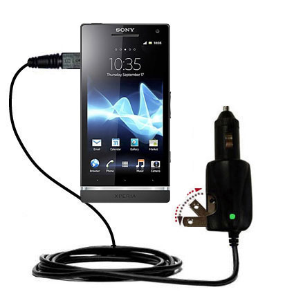 Intelligent Dual Purpose DC Vehicle and AC Home Wall Charger suitable for the Sony Ericsson Xperia S - Two critical functions; one unique charger - Uses Gomadic Brand TipExchange Technology