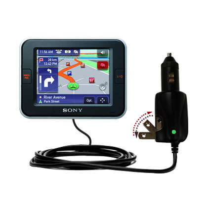 Intelligent Dual Purpose DC Vehicle and AC Home Wall Charger suitable for the Sony Nav-U NV-U52 - Two critical functions; one unique charger - Uses Gomadic Brand TipExchange Technology