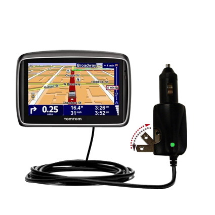 Intelligent Dual Purpose DC Vehicle and AC Home Wall Charger suitable for the TomTom 740 - Two critical functions; one unique charger - Uses Gomadic Brand TipExchange Technology