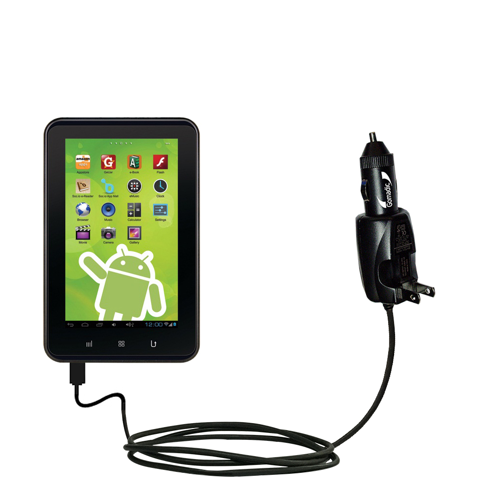 Intelligent Dual Purpose DC Vehicle and AC Home Wall Charger suitable for the Zeki 7 Tablet TB782B - Two critical functions; one unique charger - Uses Gomadic Brand TipExchange Technology