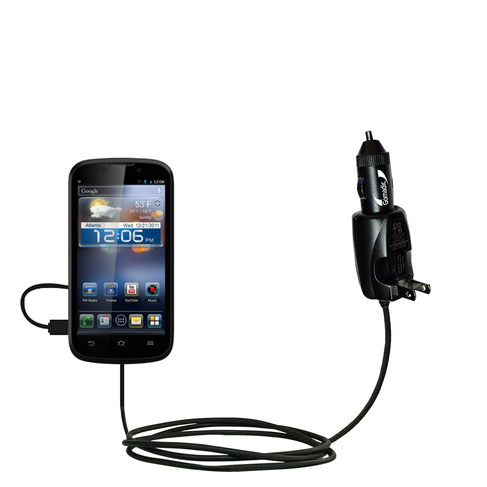 Intelligent Dual Purpose DC Vehicle and AC Home Wall Charger suitable for the ZTE Awe - Two critical functions; one unique charger - Uses Gomadic Brand TipExchange Technology