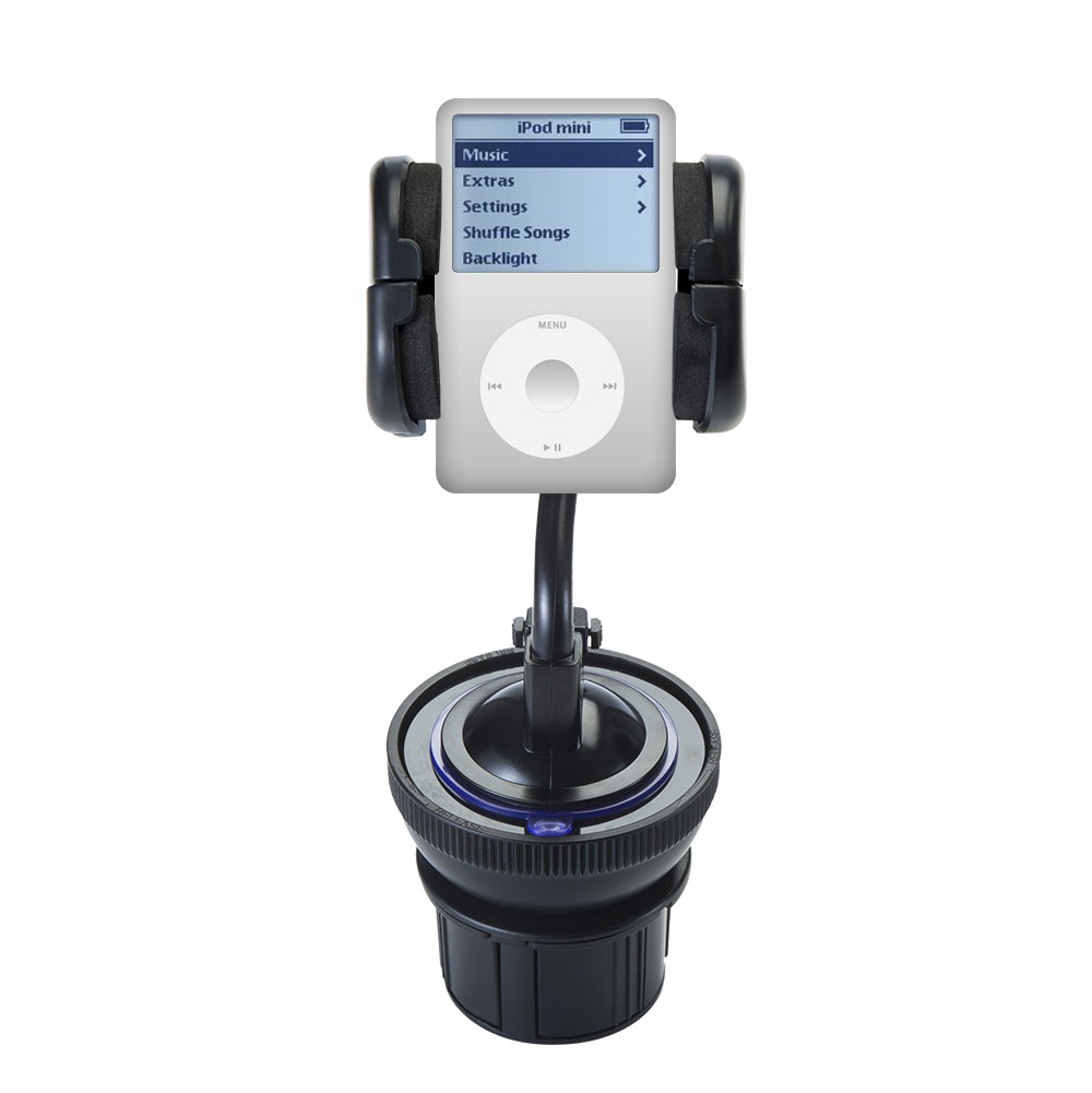 Unique Auto Cupholder and Suction Windshield Dual Purpose Mounting System for Apple iPod 4G (20GB) - Flexible Holder System Includes Two Mount Options