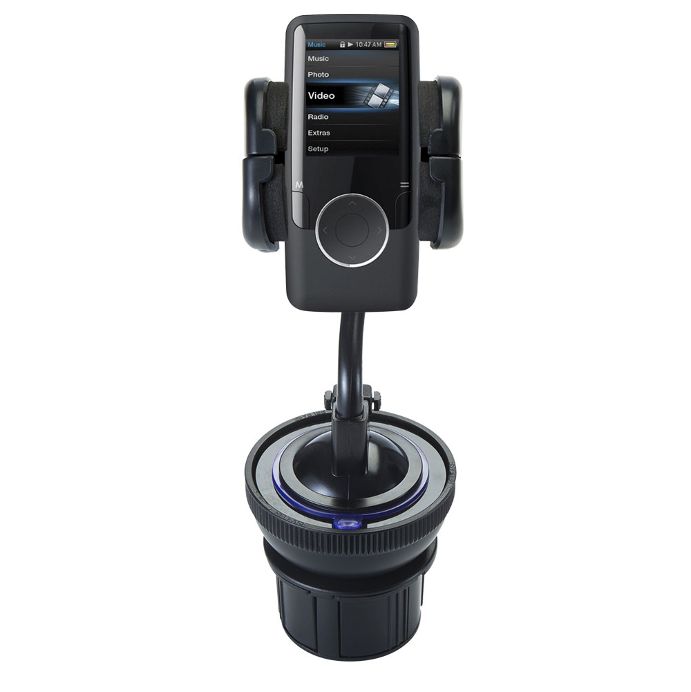 Unique Auto Cupholder and Suction Windshield Dual Purpose Mounting System for Coby MP620 Video MP3 Player - Flexible Holder System Includes Two Mount Options