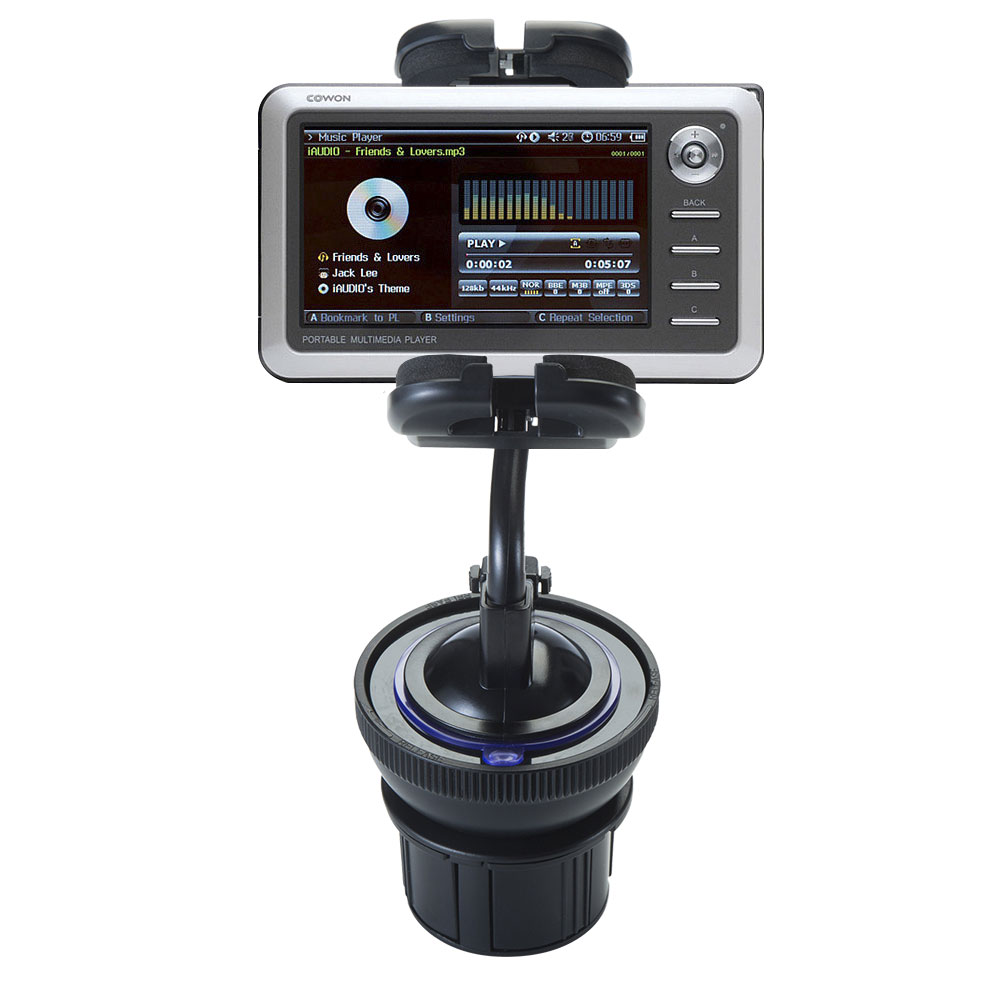 Unique Auto Cupholder and Suction Windshield Dual Purpose Mounting System for Cowon iAudio A2 Portable Media Player - Flexible Holder System Includes Two Mount Options