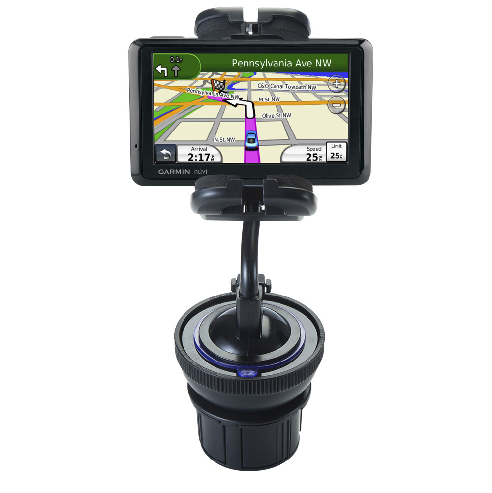 Unique Auto Cupholder and Suction Windshield Dual Purpose Mounting System for Garmin nuvi 1490LMT 1490T - Flexible Holder System Includes Two Mount Options