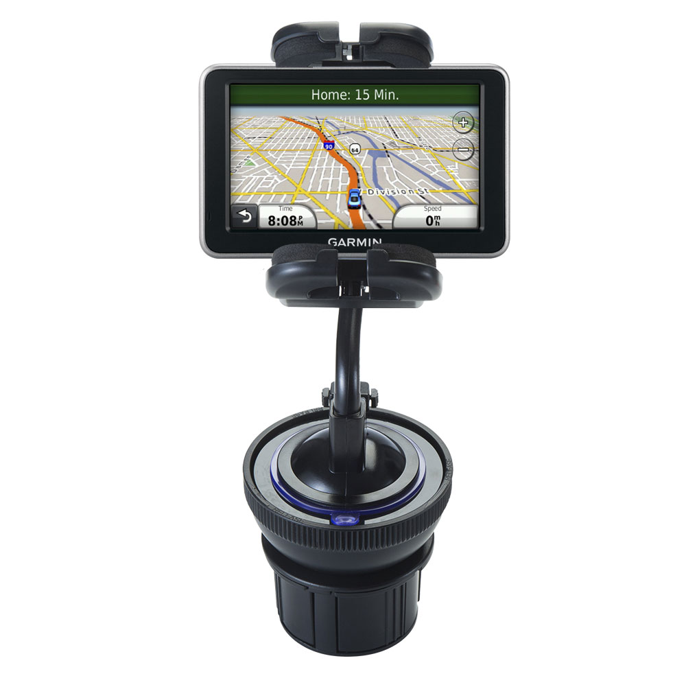 Unique Auto Cupholder and Suction Windshield Dual Purpose Mounting System for Garmin Nuvi 2350 - Flexible Holder System Includes Two Mount Options