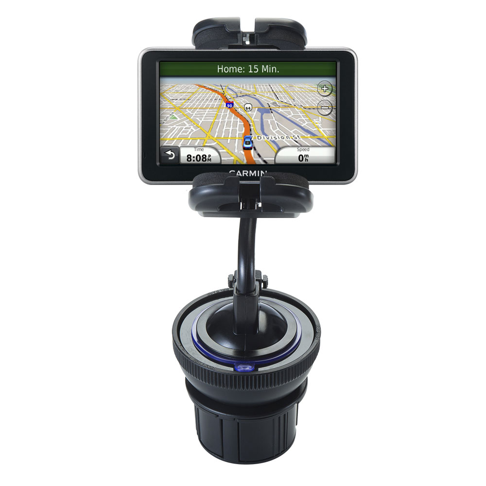 Unique Auto Cupholder and Suction Windshield Dual Purpose Mounting System for Garmin Nuvi 2460 2450 - Flexible Holder System Includes Two Mount Options