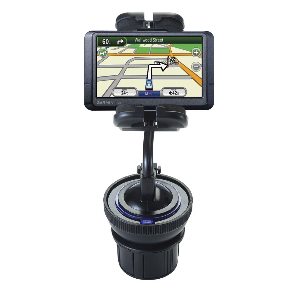 Unique Auto Cupholder and Suction Windshield Dual Purpose Mounting System for Garmin Nuvi 255W 255WT 255 - Flexible Holder System Includes Two Mount Options