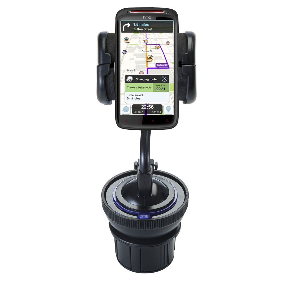 Unique Auto Cupholder and Suction Windshield Dual Purpose Mounting System for HTC Sensation XE - Flexible Holder System Includes Two Mount Options